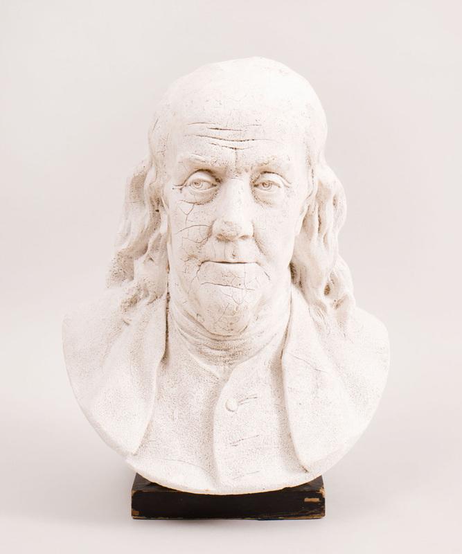 White Painted Plaster Bust of Benjamin Franklin, After Jean-Antoine Houdon (1741-1828)