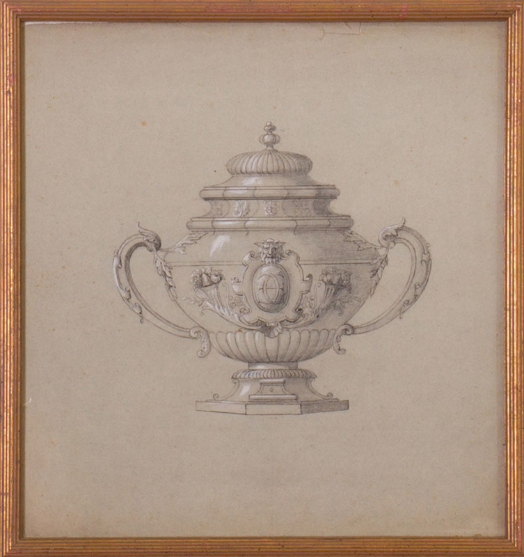 20TH CENTURY SCHOOL: DESIGN FOR SILVER PUNCH BOWL; AND DESIGN FOR SILVER CUP AND COVER