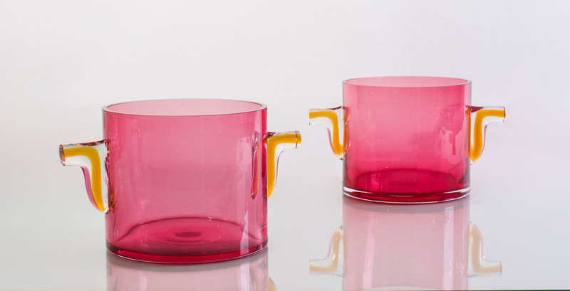 PAIR OF CRANBERRY AND AMBER GLASS ICE BUCKETS