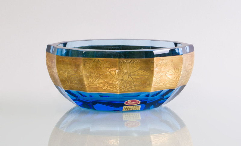 MOSERS GILT-DECORATED GLASS BOWL