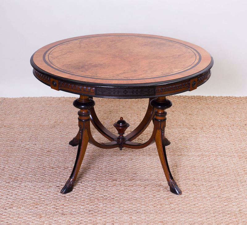 VICTORIAN INLAID BURL WALNUT, BIRCH AND EBONIZED CENTER TABLE