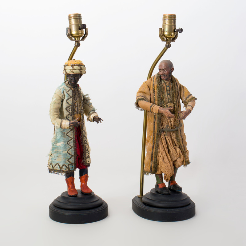 Pair of Crèche Figures Mounted as Lamps