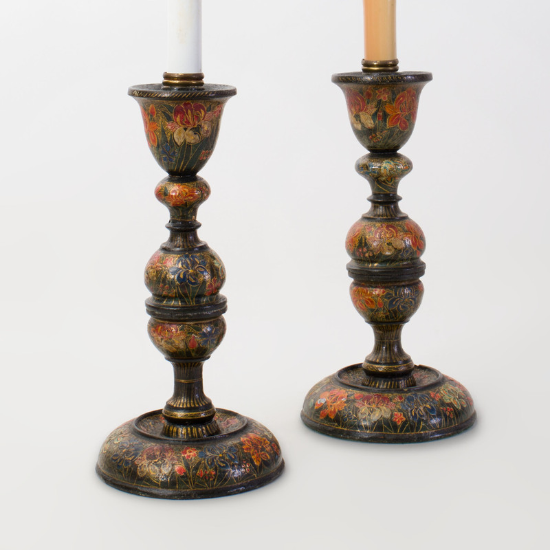 Pair of Painted Wood Candlesticks Mounted as Lamps