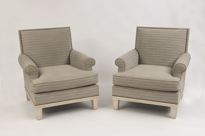 PAIR OF PAINTED AND UPHOLSTERED ARMCHAIRS, MODERN