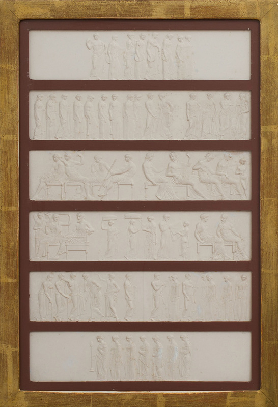 SET OF SIX ITALIAN NEOCLASSICAL STYLE COMPOSITION INTAGLIO FRIEZE PANELS, AFTER THE ANTIQUE