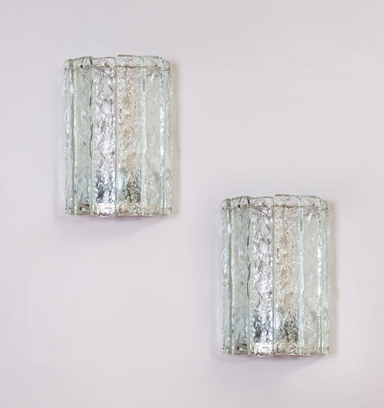 PAIR OF CHROME AND GLASS THREE-LIGHT SCONCES, MODERN
