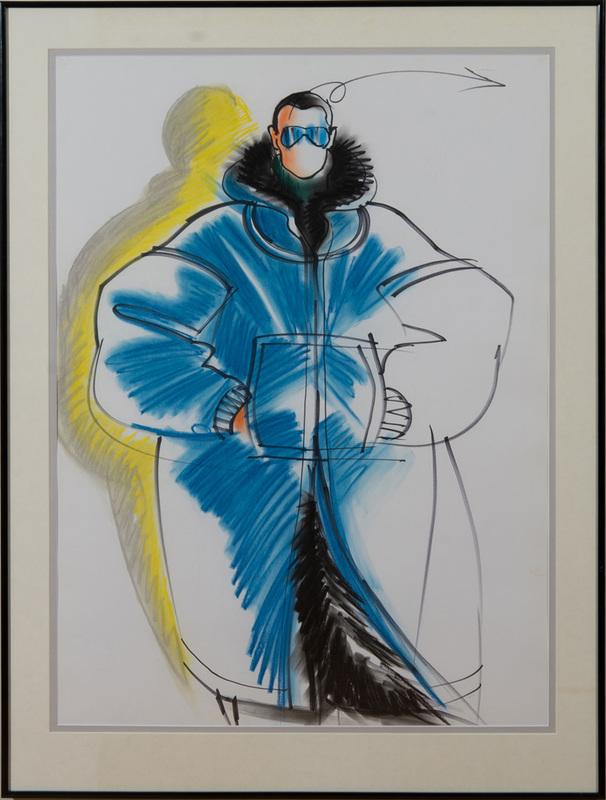 ANTONIO LOPEZ (1943-1988): FASHION SKETCH (MALE BLUE COAT)