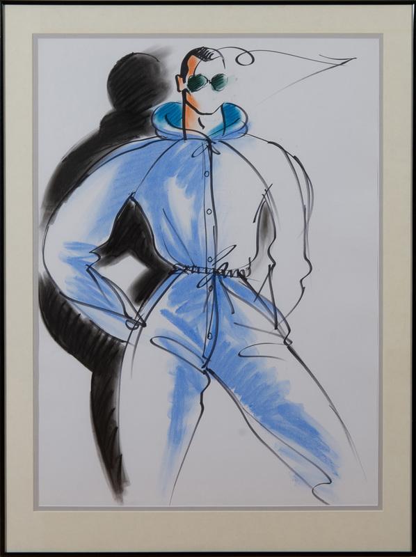 ANTONIO LOPEZ (1943-1988): FASHION SKETCH (MALE BLUE JUMPER)
