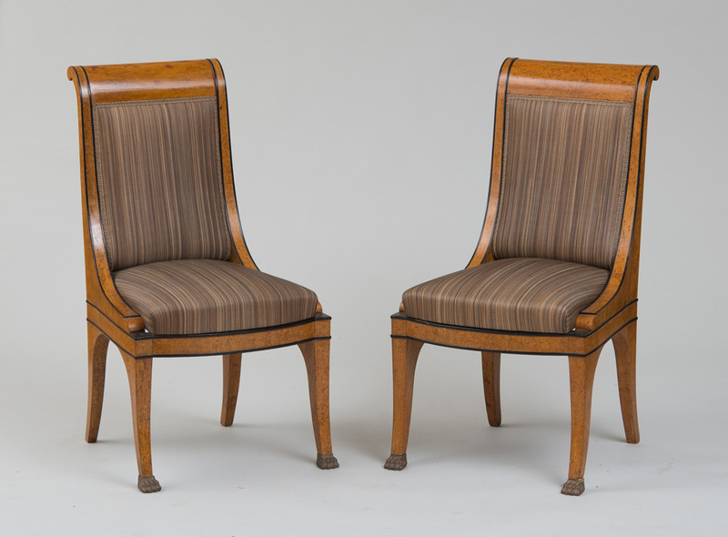 PAIR OF RUSSIAN NEOCLASSICAL KARELIAN BIRCH AND EBONIZED SIDE CHAIRS
