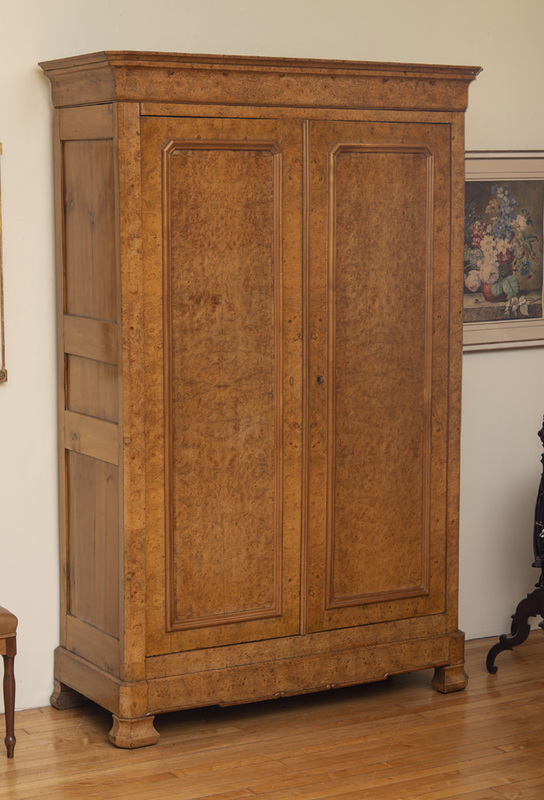FRENCH BURR ELM AND FRUITWOOD ARMOIRE