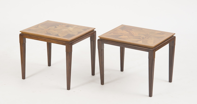 PAIR OF FRENCH MAHOGANY AND FRUITWOOD MARQUETRY SIDE TABLES