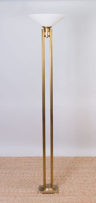 PAIR OF CRESCENT BRASS AND GLASS FLOOR LAMPS