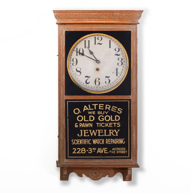 American Oak and Reverse Glass Advertising Wall Clock