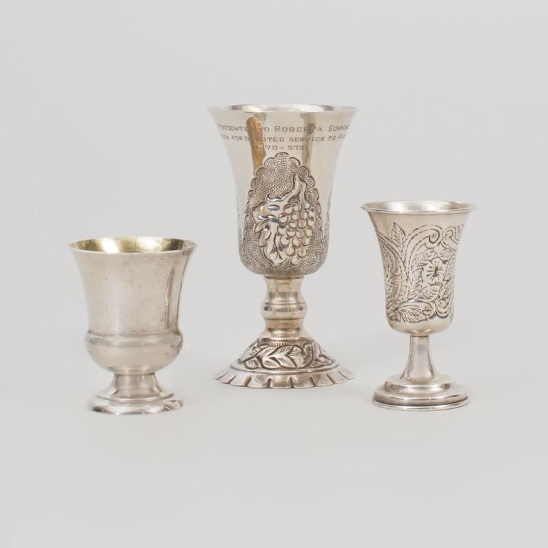 Three Silver Kiddish Cups