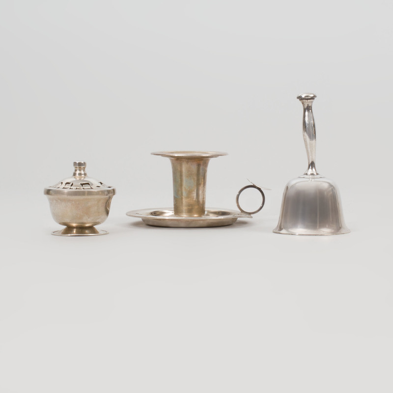 Silver Judaica Taperstick and a Spice Box