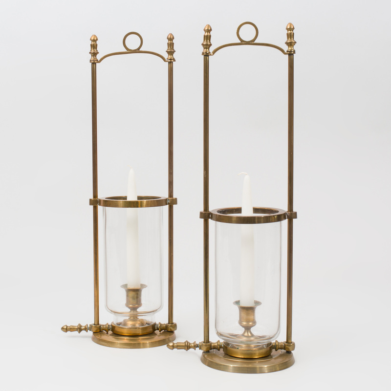 Pair of Brass and Glass Hurricanes with Adjustable Shades