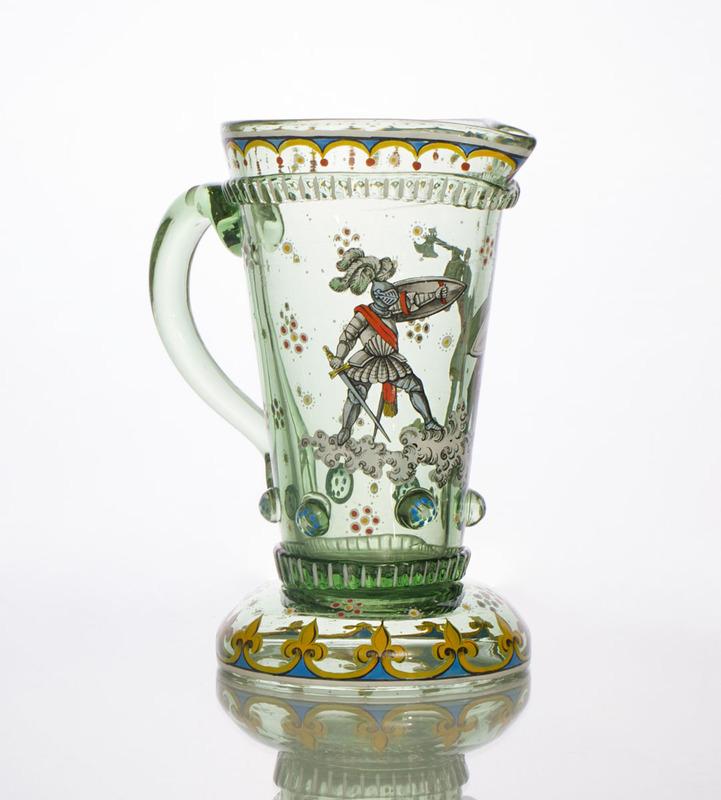 BOHEMIAN STYLE ENAMELED GLASS JUG