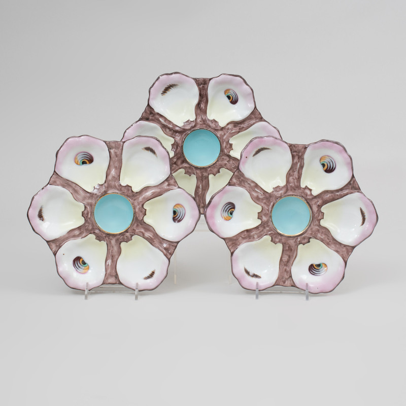 Set of Six Continental Porcelain Oyster Plates