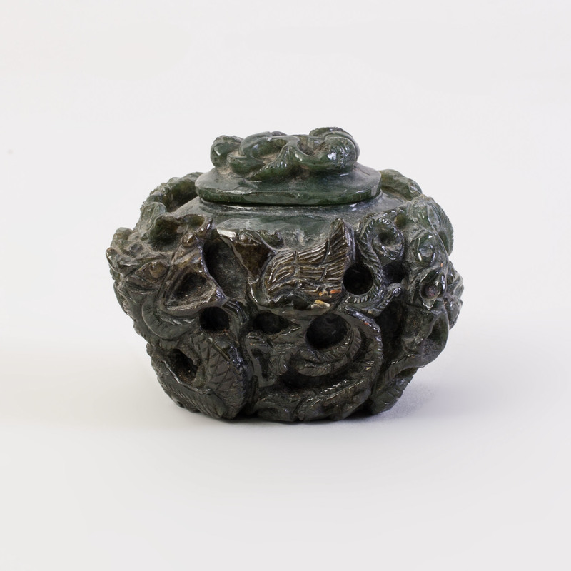 Chinese Carved Dark Green Jade Jar and Cover
