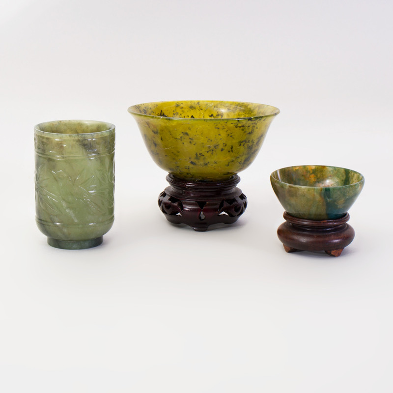Chinese Green Jade Bowls and a Cup