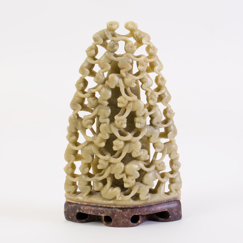 Chinese Soapstone Carving of a Mountain with Monkeys