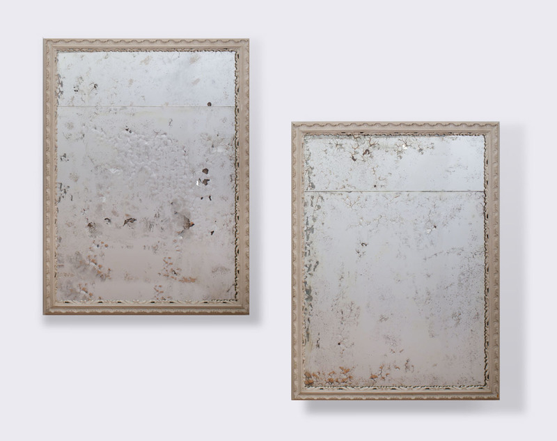 PAIR OF FRENCH GREY PAINTED MIRRORS