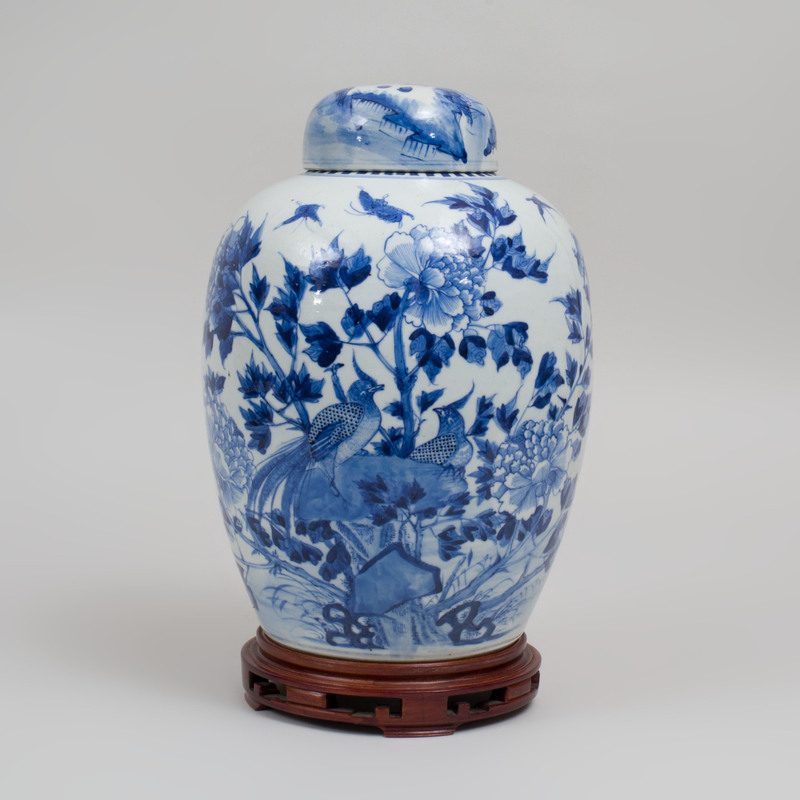 Chinese Blue and White Porcelain Jar and a Cover