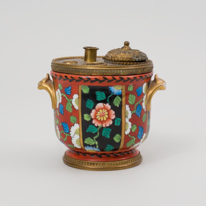 French Gilt Metal-Mounted Porcelain Bough Pot Form Encrire