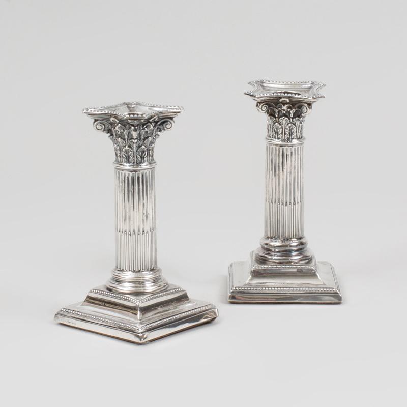 Pair of Edward VII Silver Columnar Candlesticks