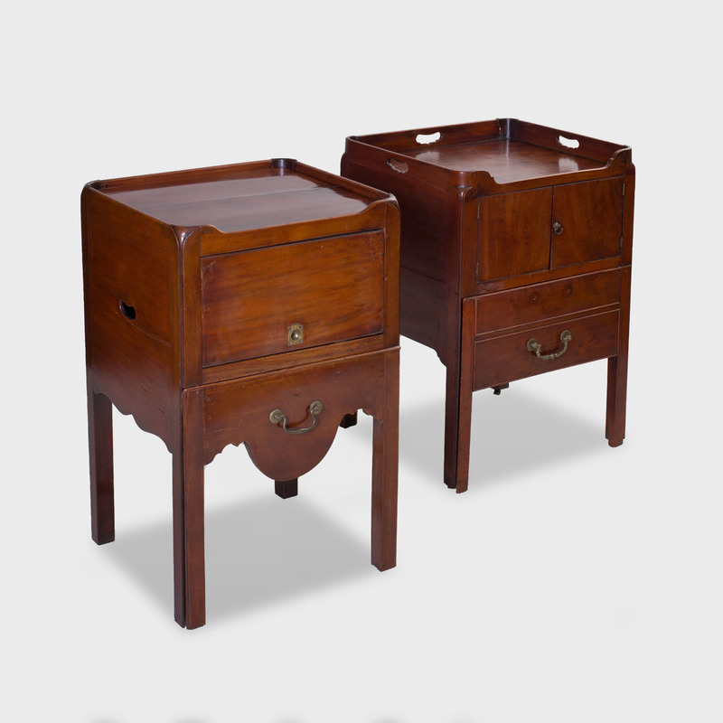 Two George III Mahogany Tambour-Fronted Bedside Tables