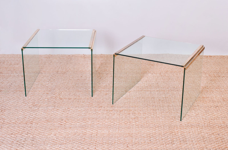 PAIR OF PACE STYLE GLASS AND BRASS SIDE TABLES