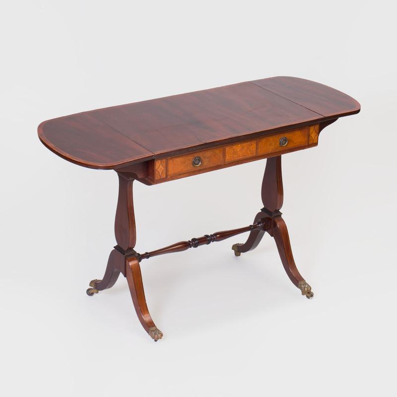 Regency Inlaid Mahogany Drop Leaf Sofa Table