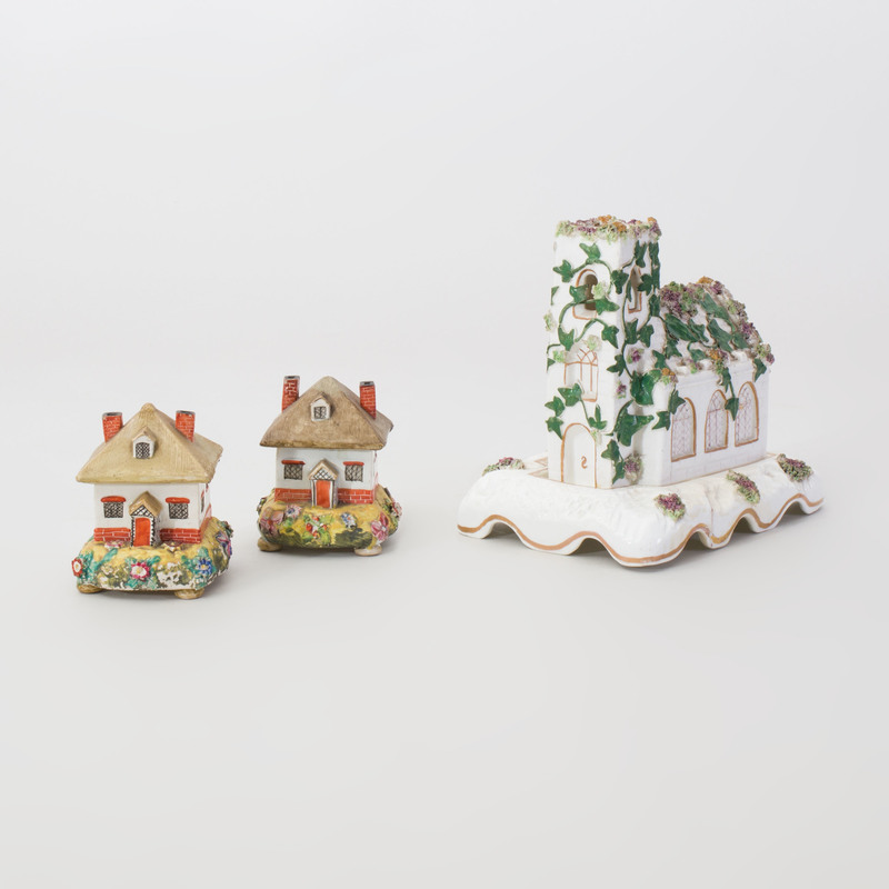 Pair of Staffordshire Cottage Form Pastille Burners and a Church Form Pastille Burner