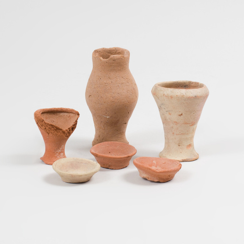Three Small Egyptian Pottery Vessels and Three Miniature Dishes