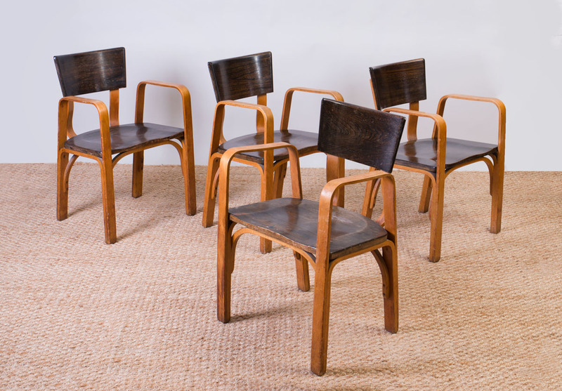 SET OF FOUR THONET STYLE BENT PLYWOOD CHAIRS