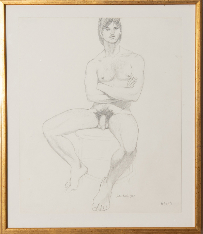 JOHN BUTTON (1929-1982): UNTITLED #154 (SEATED MALE NUDE)