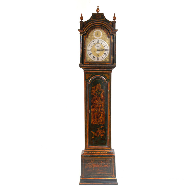 George III Green and Gilt Japanned Tall Case Clock