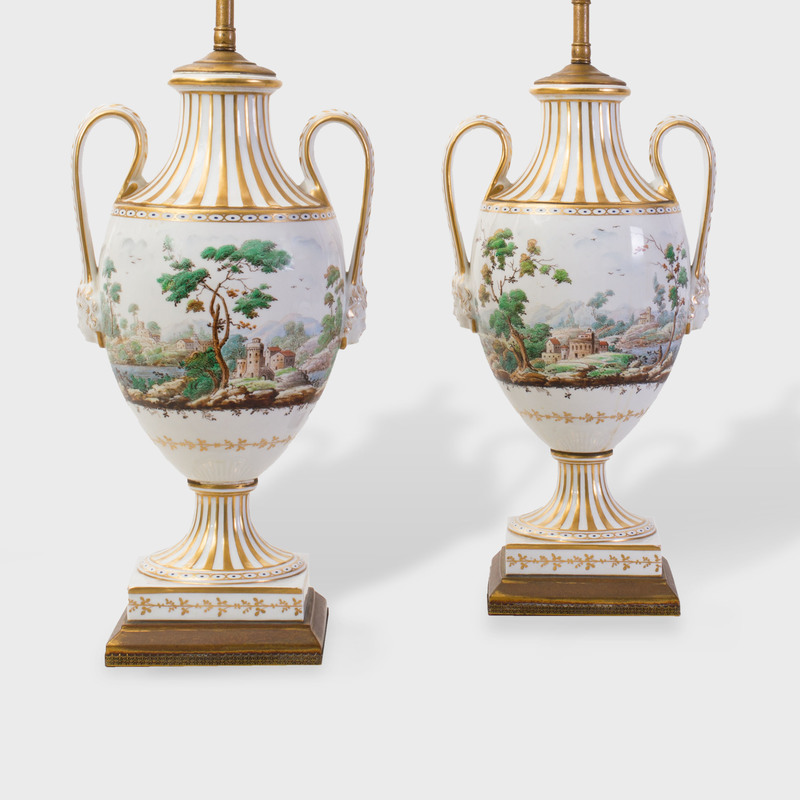 Pair of English Gilt Porcelain Urns Painted with Landscapes Mounted as Lamps