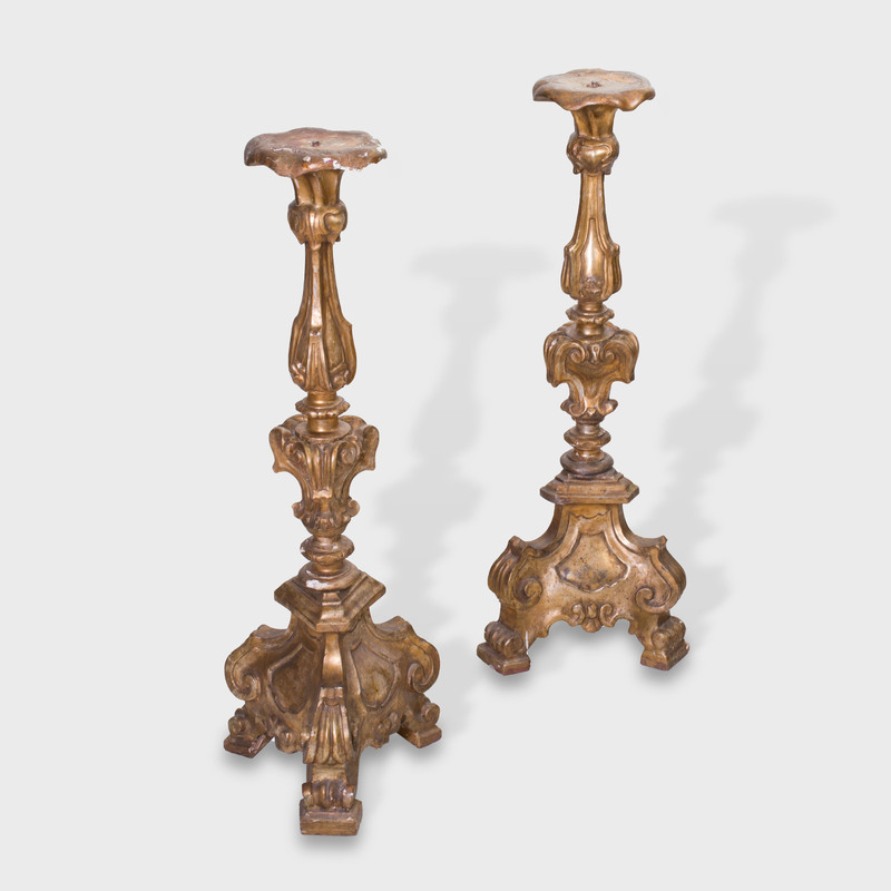 Pair of Italian Baroque Style Carved and Mecca-Decorated Torchère Stands