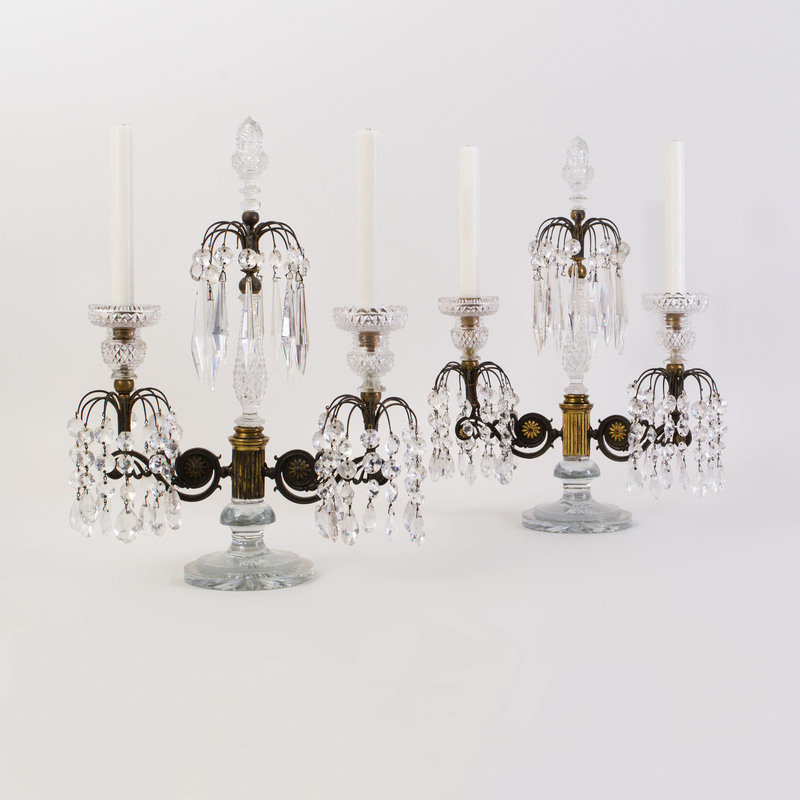 Pair of Regency Brass and Cut Glass Two-Light Candelabra