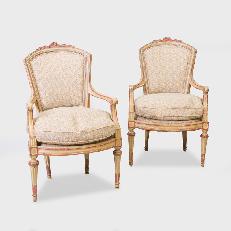 Pair of Italian Neoclassical Style Painted Armchairs