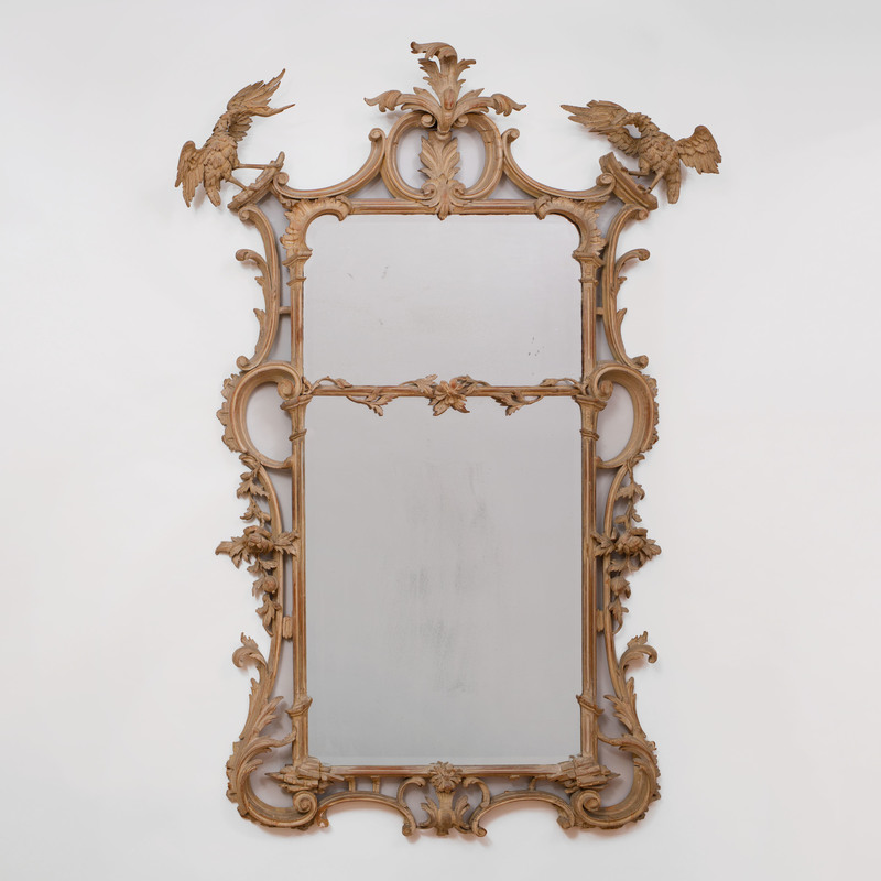 George III Style Carved and Painted Pier Mirror
