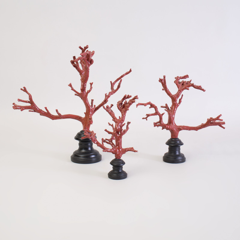 Three Tozai Home Faux Coral Specimens on Ebonized Wood Stand