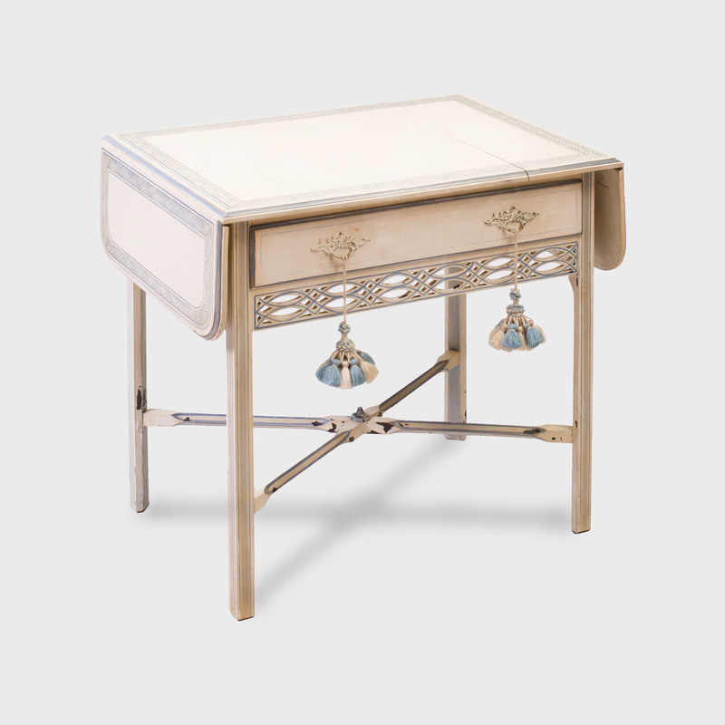 George III Style Cream and Blue Painted Pembroke Table