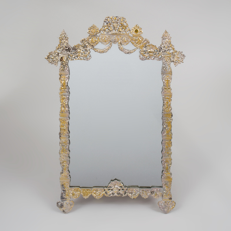 Continental Silver Plate Dressing Table Mirror
