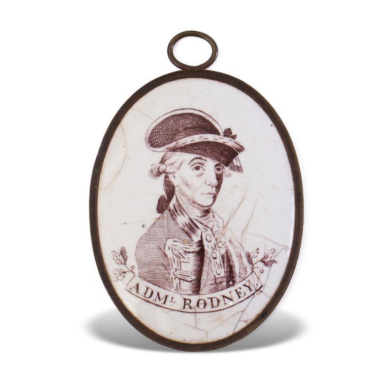 Liverpool Enamel Plaque Depicting Admiral Rodney