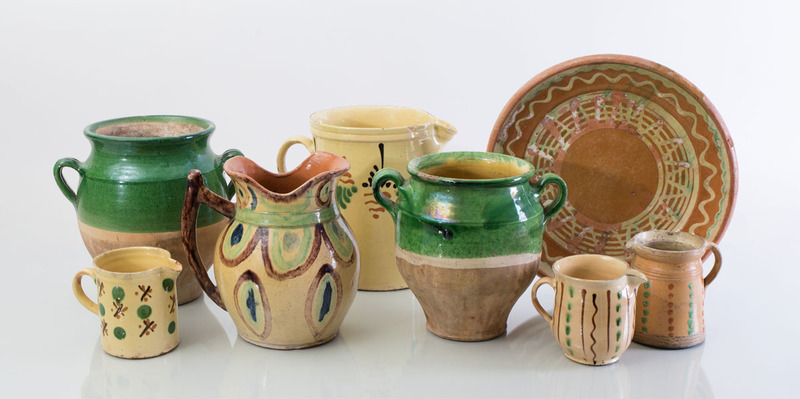 GROUP OF EIGHT FRENCH GLAZED POTTERY ARTICLES