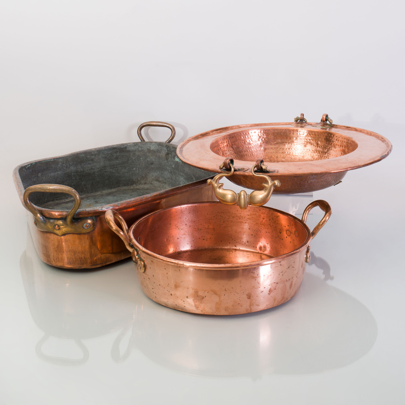 Brass-Handled Copper Diamond-Shape Pan and Four Circular Copper Pans