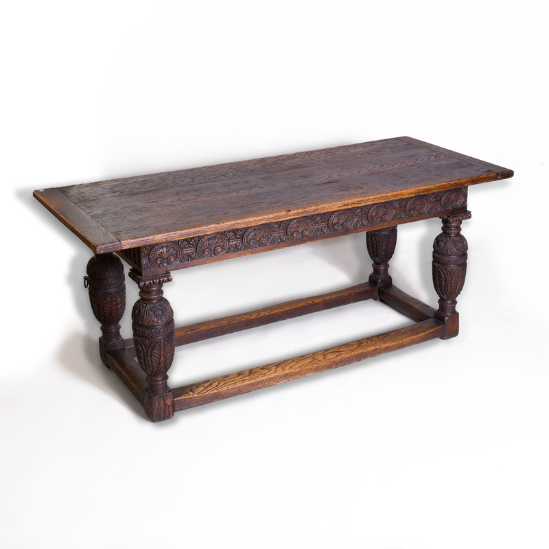 Charles II Style Stained and Carved Oak Center Table