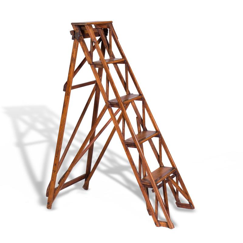 English Brass-Mounted Wood Library Ladder